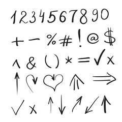 Hand written marker pen vector signs, symbols and shapes