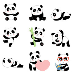 Cute panda characters. Chinese bear newborn happy pandas toy vector mascot design isolated. Illustration of panda toy, bear animal black white