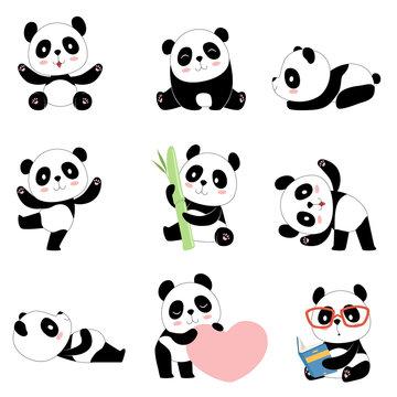 Cute panda characters. Chinese bear newborn happy pandas toy vector mascot design isolated. Illustration of panda toy, bear animal black white
