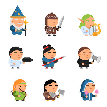 Fantasy characters. 2d game sprite male and female heroes computer soldiers rpg shooter mascots soldiers knights wizards vector. Illustration of soldier and knight, character 2d warrior