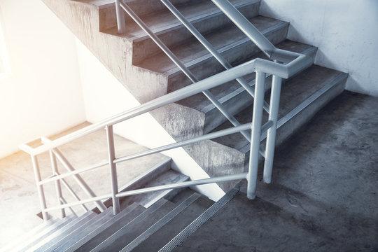 staircase emergency stairway, interior stair in office building.