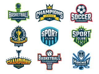 Sport logos. Emblem of college team cup competitions athlete recreation labels and vector badges isolated. Illustration of college sport team, game cup badge or emblem