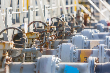 Manifold pipes and valves of the oil product tanker.