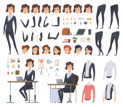 Female business animation. Director office manager woman body parts clothes and business wardrobe items vector character creation kit. Illustration of businesswoman young, female woman animation