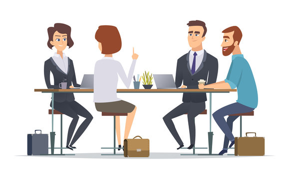 Team working together. Office talking peoples managers business group dialogue coworkers persons vector concept pictures. Illustration of teamwork group company, woman and man at table
