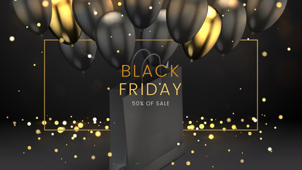 Black friday, sale abstract dark background with glowing lights, golden frame, balloons and shopping bag, can be used for e-commerce, advertising flyer, business promotion and web banner. Vector