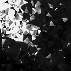 Bitcoin and blockchain technology concept on dark triangular background