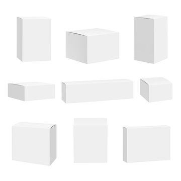 Blank white box. Packages container quadrate boxes detailed realistic vector mockup. Package mockup, box and container illustration