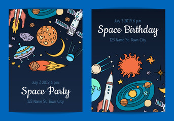 Vector invitation for birthday party with hand drawn space elements illustration. Card with galaxy space, rocket ship and sun