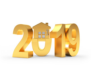 2019 New Year golden numbers and house icon on white. 3D illustration
