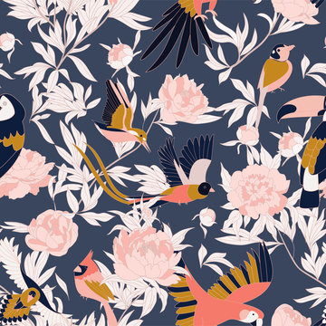 Seamless pattern with peonies and parrots weaving together. Bright tropical pattern, flowering peonies, and birds. on dark.