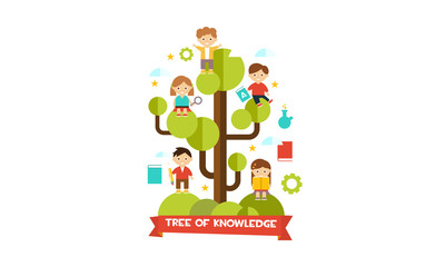 Tree of knowledge, cute little kids sitting on a tree branches vector Illustration