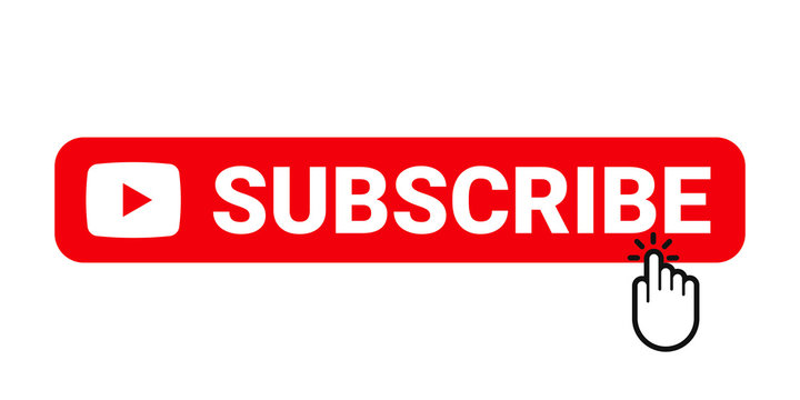 Subscribe web site button. Online video channel or newsletter subscribe button with finger pointer, vector flat line web element