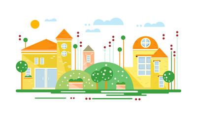 Cute real estate cottages, residential buildings on suburban street, summer season vector Illustration