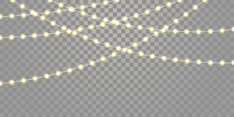 Christmas lights vector isolated strings. Holiday celebration Xmas, birthday or festival lamp lights on transparent background Wall mural