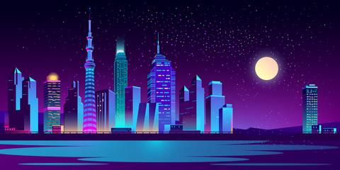 Modern city night landscape cartoon vector with illuminated neon light skyscrapers on riverbank or sea shore illustration. Futuristic cityscape in moon light. Metropolis new district. Urban background