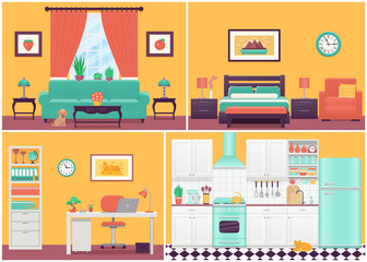 Room interiors. Vector. Living room, bedroom, kitchen, workplace with furniture in flat design. Cartoon house equipment sofa, bed, drawer, table, lamp, window. Cozy home, hotel. Set illustration.