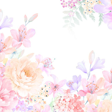 Elegant roses and peony flowers
