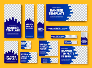 Wall Mural - Set of blue vector web banners with place for photo.