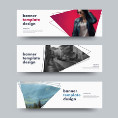 Design of vector white horizontal web banners with with triangular elements for photo and outer stroke.