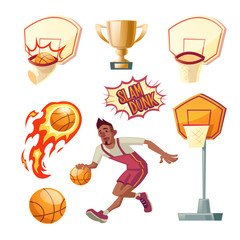 Vector basketball set - athletic sportsman in uniforms with orange ball, different baskets and golden cup, goblet. Trophy for winner of tournament. The collection isolated on white background.