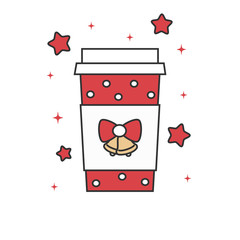 cute cartoon christmas coffee cup vector illustration isolated on white background