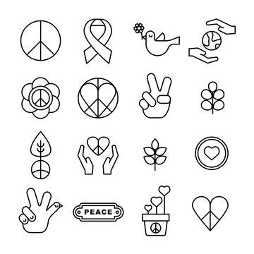 Symbols of peace, Thin line icon set,  Peace Icon set, sign, symbol, design element