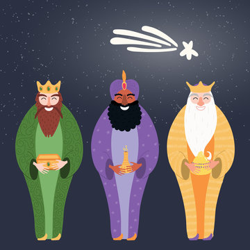 Hand drawn vector illustration of three kings of orient with gifts, star. Isolated objects on dark background. Flat style design. Concept, element for Epiphany card, banner.