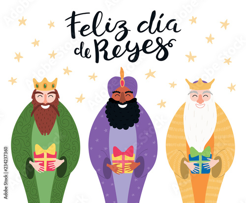 Hand Drawn Vector Ilration Of Three Kings With Gifts Spanish Quote Feliz Dia De Reyes Hy Day Isolated Objects On White Flat Style Design