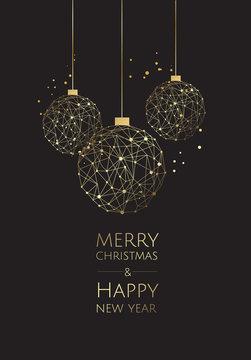 Vector modern template christmas card. Abstract christmas ball.