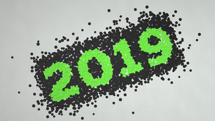 2019 number made from black and green confetti