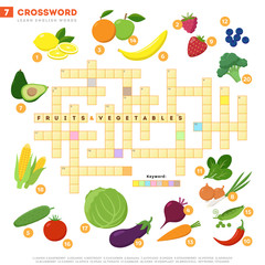 Crossword with huge set of illustrations and keyword in vector flat design isolated on white background. Crossword 7 - Fruits and vegetables - learning English words with images isolaed on white.