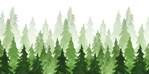 Watercolor green pine trees. Christmas and New Year illustration