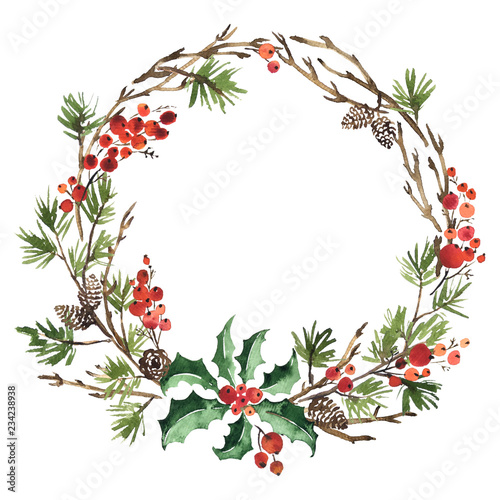 Watercolor Christmas Wreath Of Spruce Pine Cones And Holly Stock