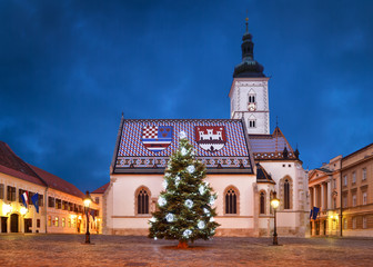 St Mark's Church at Christmas, Zagreb, Croatia.