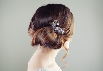 Beautiful bridal hairstyle. Updo hair with hairdeco