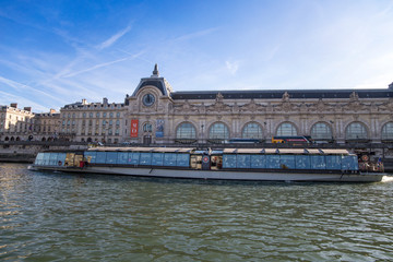 PARIS, FRANCE, SEPTEMBER 8, 2018 - View of Orsay Museum from River Seine in Paris, France