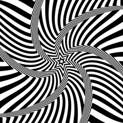 Abstract op art design. Illusion of rotation movement.