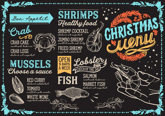 Christmas menu for seafood restaurant, food template.