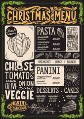 Christmas menu template for vegetarian restaurant.