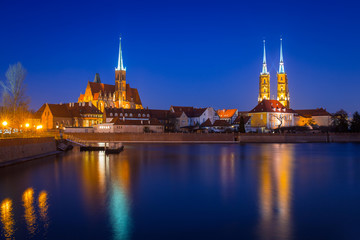 Architecture of the old town in Wroclaw at dusk, Poland.