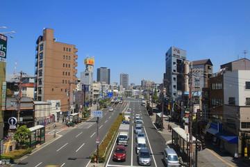 osaka city view by train