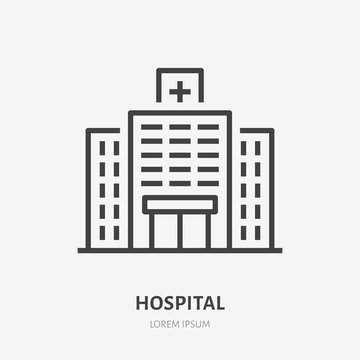 Hopital flat line icon. Vector thin sign of medical clinic, polyclinic logo. Health care building exterior illustration.
