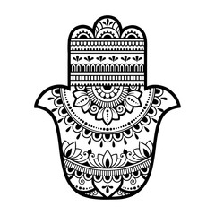 "Hamsa hand drawn symbol with flower. Decorative pattern in oriental style for interior decoration and henna drawings. The ancient sign of ""Hand of Fatima""."