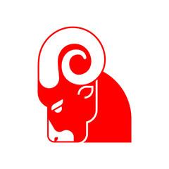 Red ram head isolated. Horned sheep face. Farm animal