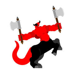 Devil centaur with ax. Strong Angry Asmodeus. Red demon big. Horned Satan. Powerful Beelzebub lord of darkness. hard Lucifer boss hell