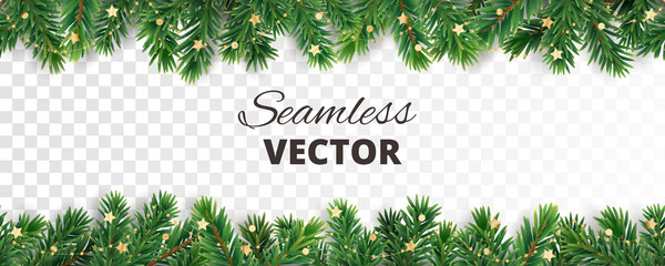 Seamless vector decoration isolated on white. Christmas tree frame, garland with ornaments Fotobehang