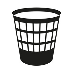 Black and white trash can silhouette