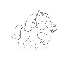 Centaur Heraldic animal linear style. half-man half horse Fantastic Beast. Monster for coat of arms. Heraldry design element.