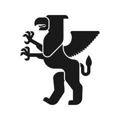 Griffin Heraldic animal silhouette. Fantastic Beast. Monster for coat of arms. Heraldry design element.